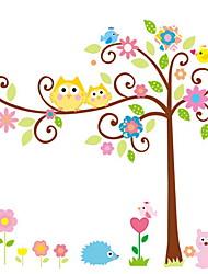 stickers muraux stickers muraux, hibou de bande dessinée de style arbres chance muraux PVC autocollants