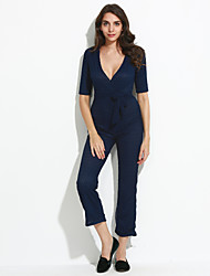 Women's Solid Cut Out Bow Bandage Wide Leg JumpsuitsSexy / Simple Deep V Short Sleeve