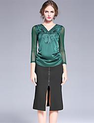 Damen Röcke,Bodycon einfarbig Geschlitzt,Arbeit Einfach Mittlere Hüfthöhe Knielänge Reisverschluss Kunstseide Micro-elastischRiemengurte