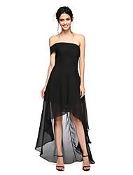 2017 lanting bride® mousseline asymétrique sexy / voir à travers la robe de demoiselle d'honneur - une ligne de hors-la-épaule avec des plis