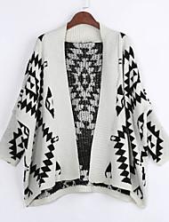 Lang Mantel / Capes Einfach Geometrisch Beige Schwarz Hemdkragen Langarm Baumwolle Frühling Mittel Mikro-elastisch