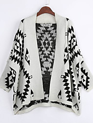 Simple Long Cloak / Capes,Geometric Beige Black Shirt Collar Long Sleeve Cotton Spring Medium Micro-elastic