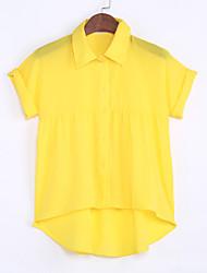 Women's Solid Yellow Shirt , Shirt Collar Short Sleeve
