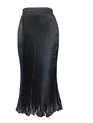 Women's Swing Solid Pleated Skirts,Casual/Daily Simple High Rise Maxi Elasticity Polyester Micro-elastic Summer Fall