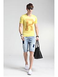 Herren Geometrisch Street Schick Lässig/Alltäglich T-shirt,Rundhalsausschnitt Frühling Kurzarm Gelb Seide Dünn