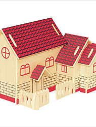 Jigsaw Puzzles Wooden Puzzles Building Blocks DIY Toys Red House 1 Wood Ivory Model & Building Toy