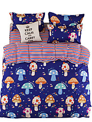 Mingjie Blue Mushrooms Bedding Sets 4PCS for Twin Full QueenSize from China Contian 1 Duvet Cover 1 Flatsheet 2 Pillowcases