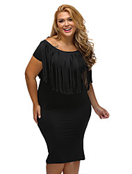 Women's Short Sleeve Fringe Top Plus Size Dress