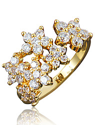 Wedding Dress Jewelry Women's Gold Plating 3A Zircon Promise Ring