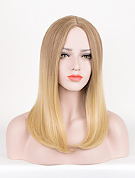 Long Straight Brown To Blonde Color Synthetic Wigs For Women Fashion Party Cosplay Wigs