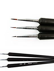 3PCS minuscule de noir acrylique nail art Dessin de stylo de peinture de brosse