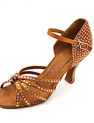 Customizable Women's Dance Shoes Satin  Latin / Jazz / Swing Shoes / Salsa Sandals / Heels Customized HeelPractice / Beginner