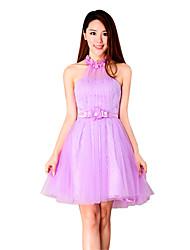Vestido de baile de noivado curto / mini vestido de dama de dama de renda com detalhes de cristal