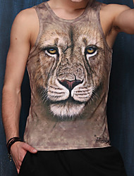 Men's Sports Beach Club Holiday Casual/Daily Sexy Active Punk & Gothic Summer T-shirt,Print Animal Print V Neck Sleeveless Polyester Thin