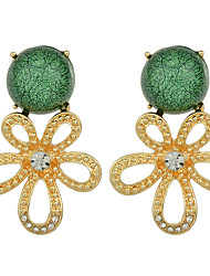 Multicolors Rhinestone Flower Hanging Earrings