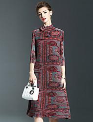 Dames Casual/Dagelijks Chinoiserie A-lijn Jurk Print-Ronde hals Boven de knie Driekwart mouw Polyester Herfst Medium taille Rekbaar Medium