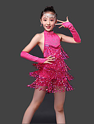 Latin Dance Dresses Children's Performance Milk Fiber Paillettes 3 Pieces Sleeveless High Dress Gloves