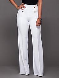 Mujer Cosecha Sencillo Tiro Alto Microelástico Chinos Pantalones,Ajustado a la Bota Un Color