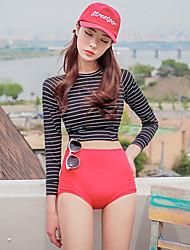 tankini swimwear das mulheres de manga comprida em torno do pescoço listrado de poliéster / nylon vermelho / preto