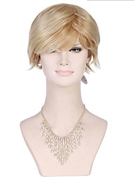 6A Synthetic Full Lace Wigs Women's Short Straight Golden Blonde Wig Heat Resistant Fiber Wig