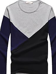 Tee-shirt Hommes,Couleur Pleine Décontracté / Quotidien simple Automne Hiver Manches Longues Col Arrondi Bleu Noir Gris Coton Moyen