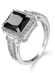 Brand women Big Rose Black sSquare Zircon Jewelry Ring for Female Platinum Plated Romantic Christmas present ring