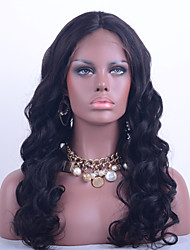 Grade 9A Brazilian Virgin Hair Lace Front Wig Loose Wave Natural Black Color 10-26 Inch 130% Density Human Virgin Hair Lace Wig With Adjustable Strap