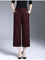 Women's Petite Loose Chinos Pants,Casual/Daily Simple Solid Mid Rise Button Others Inelastic Summer Fall