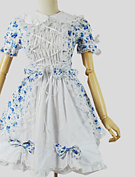One-Piece/Dress Sweet Lolita Princess Cosplay Lolita Dress Floral Short Sleeve Knee-length Dress For Cotton