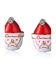 Pendientes cortos Legierung Chrismas Blanco/Rojo Joyas Fiesta Diario Regalos de Navidad 1 par