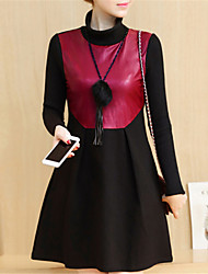 Fashion Long Sleeves Stand up Collar In The Long Section Plus Velvet Thickening PU Leather Splicing Shirt Leisure Thickening Home Dress