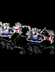Santa Claus Sled Elk Cufflinks Christmas Interesting Modeling Men's Sleeves Men's Christmas Gifts With Gift Box