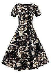 Gaine Robe Femme Décontracté / Quotidien Vintage,Fleur Col Arrondi Mi-long Manches Courtes Noir Coton Toutes les Saisons Taille Haute