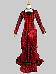 Outfits Gothic Lolita Victorian Cosplay Lolita Dress Solid Long Sleeve Asymmetrical Top Skirt For Cotton Charmeuse