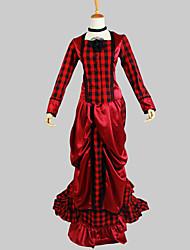 Tenue Gothique Victorien Cosplay Vêtements de Lolita Rouge Couleur Pleine Manches longues Asymétrique Haut Jupe Pour FemmeCoton Satin de