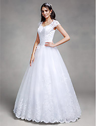 Ball Gown Wedding Dress Floral Lace Floor-length Queen Anne Satin Tulle with Appliques Beading