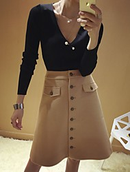 Women's Pencil Solid / Geometric Skirts,Going out / Casual/Daily Sexy / Vintage / Cute High Rise Above Knee Zipper Cotton / Cashmere