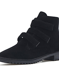 Women's Boots Winter Platform PU Casual Low Heel Magic Tape Black Khaki Walking