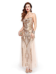 Formal Evening Dress A-line Strapless Ankle-length Sequined with Sequins