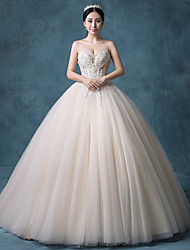Princess Wedding Dress Floor-length Strapless Lace / Organza / Tulle / Sequined with Beading / Lace / Sequin