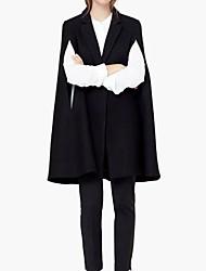Женский На выход / На каждый день Однотонный Пальто Лацкан с острым углом,Простое / Уличный стиль Осень / Зима Черный Без рукавов,