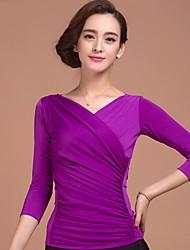 Ballroom Dance Tops Women's Training Rayon Purple 1 Piece 3/4 Length Sleeve Natural Top Top