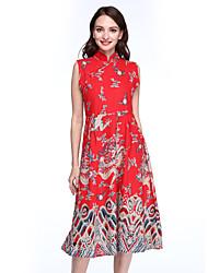 Mulheres Vestido Evasê / Bainha Vintage Estampado Médio Colarinho Chinês Algodão / Linho