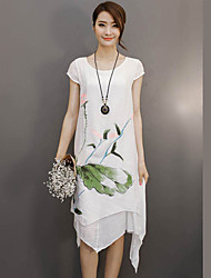 Women's Casual/Daily Street chic Loose Dress,Floral Round Neck Asymmetrical Short Sleeve White Linen Summer
