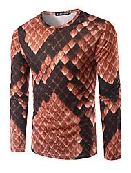 Herren Druck Einfach Ausgehen Lässig/Alltäglich T-shirt,Rundhalsausschnitt Herbst Langarm Braun Modal Mittel