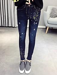 Damen Schlank Jeans Hose-Ausgehen / Lässig/Alltäglich Einfach / Street Schick Punkte Ripped Mittlere Hüfthöhe ReisverschlussAcryl /