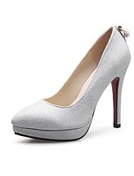 Damen-High Heels-Büro Lässig Kleid-Kunstleder-StöckelabsatzGold Silber