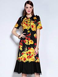 Feminino Bainha Vestido, Casual Vintage Floral Decote Redondo Altura dos Joelhos Manga Curta Preto Poliéster Outono Cintura MédiaSem