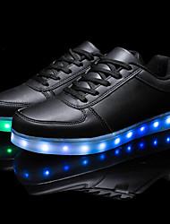Unissex-Tênis-Conforto Light Up Shoes-Rasteiro-Branco-Courino-Casual Festas & Noite