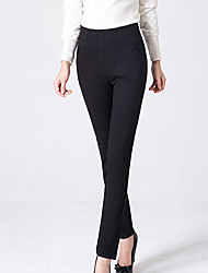 Women's Plus Size Straight Chinos Pants,Casual/Daily Simple Solid High Rise Button Cotton / Spandex Micro-elastic Winter
